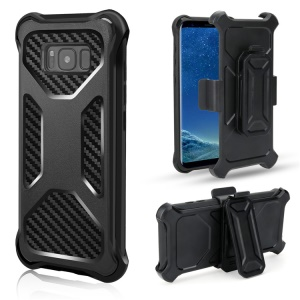 Carbon Fiber Texture PC + TPU Heavy Duty Belt Clip Kickstand Hybrid Mobile Casing for Samsung Galaxy S8 G950 - Black