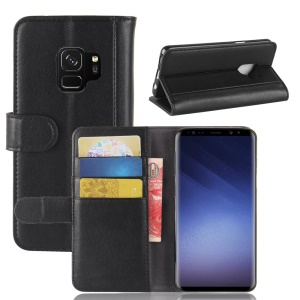 Split Leather Magnetic Wallet Phone Shell with Stand for Samsung Galaxy S9 G960 - Black