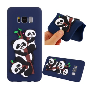 Cute 3D Pandas and Bamboo TPU Phone Accessory Case for Samsung Galaxy S8 G950 - Dark Blue