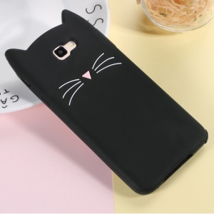 3D Moustache Cat Silicone Cover for Samsung Galaxy J7 Prime (2016) / On Nxt - Black