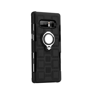 Geometric Pattern Magnetic Finger Ring Kickstand TPU + PC Hybrid Back Case for Samsung Galaxy Note 8 N950 - Black