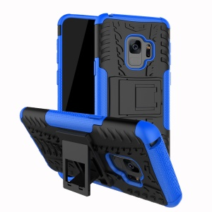 Anti-slip PC + TPU Hybrid Shell Cover with Kickstand for Samsung Galaxy S9 G960 - Blue