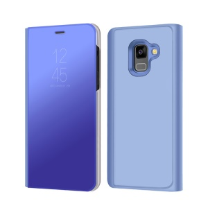 Information View Plated Mirror Surface Stand Leather Protective Cover for Samsung Galaxy A8 (2018) - Blue