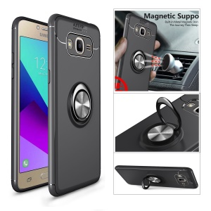 Magnetic Finger Ring Kickstand TPU Cell Phone Case for Samsung Galaxy Galaxy J2 Prime / Grand Prime Plus / Grand Prime (2016) - Black / Grey