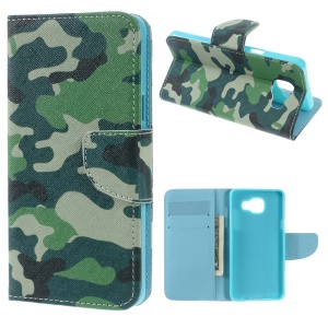 Magnetic Leather Stand Case for Samsung Galaxy A5 SM-A510F (2016) - Camouflage Pattern