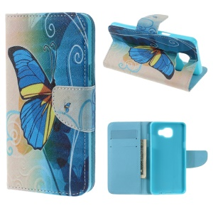Magnetic Leather Stand Cover for Samsung Galaxy A5 SM-A510F (2016) - Blue Butterfly
