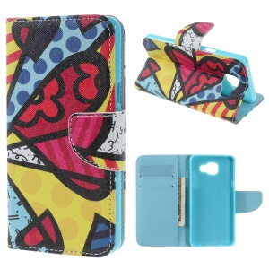 PU Leather Card Holder Case for Samsung Galaxy A5 SM-A510F (2016) - Colorized Butterfly