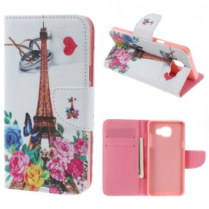 Wallet Leather Stand Cover Case for Samsung Galaxy A5 SM-A510F (2016) - Eiffel Tower & Flowers