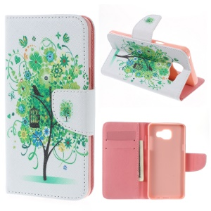 Wallet Leather Stand Case for Samsung Galaxy A5 SM-A510F (2016) - Green Tree
