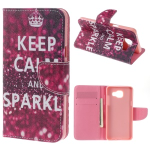 Wallet Leather Stand Case for Samsung Galaxy A5 SM-A510F (2016) - Keep Calm and Sparkle