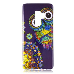 Patterned Noctilucent IMD Soft TPU Flexible Gel Cover for Samsung Galaxy S9+ G965 - Owl