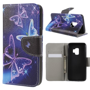 Pattern Printing Cross Texture Stand Wallet Leather Casing for Samsung Galaxy S9 G960 - Crystal Butterfly
