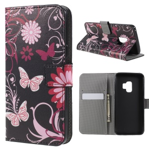 Pattern Printing PU Leather Magnetic Wallet Stand Protective Phone Casing for Samsung Galaxy S9 - Pink Flower and Butterfly