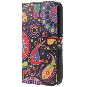 Pattern Printing PU Leather Magnetic Wallet Stand Protective Phone Case for Samsung Galaxy S9 - Abstract Pattern
