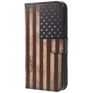 Pattern Printing PU Leather Magnetic Wallet Stand Protective Phone Casing Cover for Samsung Galaxy S9 - Flag of America
