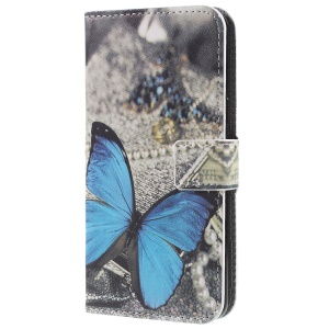 Pattern Printing PU Leather Magnetic Wallet Stand Protective Phone Casing Shell for Samsung Galaxy S9 - Blue Butterfly
