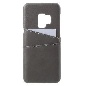 PU Leather Coated PC Card Holder Cell Phone Cover for Samsung Galaxy S9 - Grey