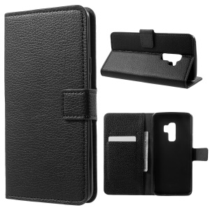 Litchi Skin Wallet Leather Stand Case for Samsung Galaxy S9 Plus - Black