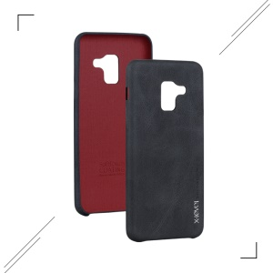 X-LEVEL Vintage Leather Coated PC Mobile Phone Case for Samsung Galaxy A8 (2018) - Black