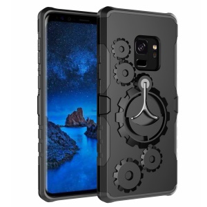 Mechanical Gear PC+TPU Hybrid Kickstand Cover for Samsung Galaxy S9 - Black