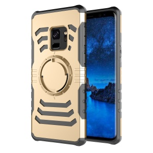 Shockproof Hybrid PC + TPU Magnetic Phone Case Shell with Sports Armband for Samsung Galaxy S9 - Gold