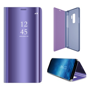 Plated Mirror Surface Information View Stand Leather Smart Mobile Casing for Samsung Galaxy S9 - Purple