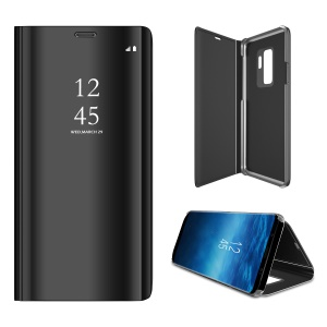For Samsung Galaxy S9+ Plated Mirror Surface Information View Stand Leather Smart Case - Black