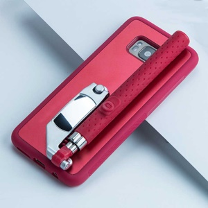 Portable Extendable Monopod Wired Selfie Stick TPU + PC Kickstand Mobile Case for Samsung Galaxy S8 SM-G950 - Red
