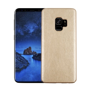 Litchi Grain PU Leather Coated Hard PC Mobile Casing for Samsung Galaxy S9 - Gold