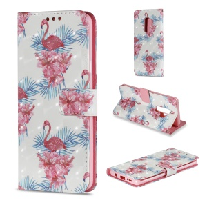 Pattern Printing Wallet Leather Stand Protection Cover for Samsung Galaxy S9 Plus - Flamingo
