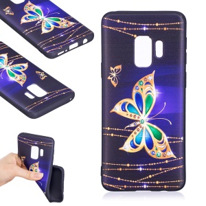 Embossment Patterned Soft TPU Case for Samsung Galaxy S9 - Shiny Butterfly