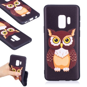 Embossment Patterned Flexible TPU Phone Case for Samsung Galaxy S9 - Owl