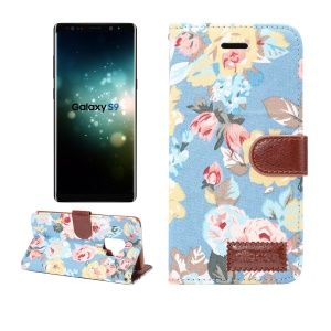 Flowers Pattern Cloth Skin Leather Mobile Cover with Card Holder for Samsung Galaxy S9 - Blue