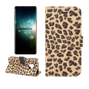 Leopard Pattern Leather Wallet Stand Mobile Shell for Samsung Galaxy S9 G960 - Brown