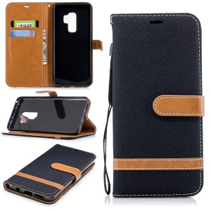 Jeans Cloth Skin Wallet Stand Leather Cover with Lanyard for Samsung Galaxy S9+ G965 - Black