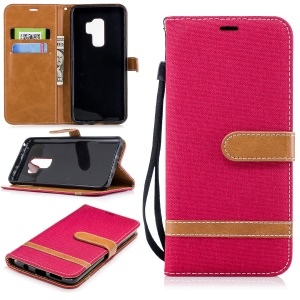 Jeans Cloth Skin Card Holder Leather Stand Phone Case for Samsung Galaxy S9+ G965 - Red