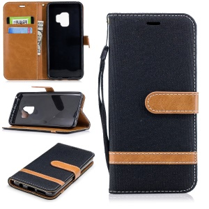 Jeans Cloth Texture Leather Wallet Stand Case with Hand Strap for Samsung Galaxy S9 G960 - Black