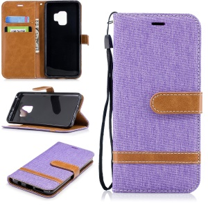 Jeans Cloth Texture Leather Wallet Stand Cover Shell for Samsung Galaxy S9 - Purple