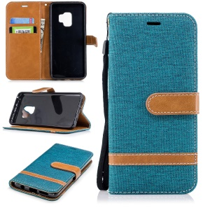 Jeans Cloth Texture PU Leather Flip Phone Cover for Samsung Galaxy S9 G960 - Green