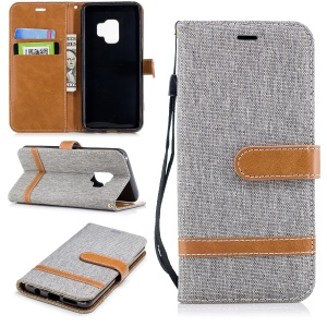 Jeans Cloth Texture Wallet Stand Leather Mobile Casing for Samsung Galaxy S9 G960 - Grey