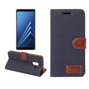 Jeans Cloth Card Holder Stand Leather Case for Samsung Galaxy A8 (2018) - Black Blue