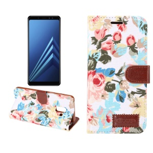 Flower Pattern Cloth Skin Card Holder Stand Leather Cover for Samsung Galaxy A8+ (2018) - White