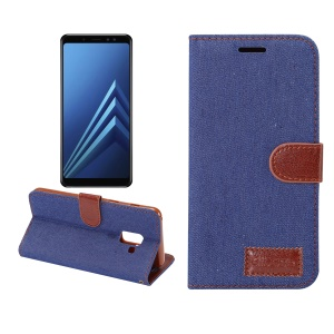 Jeans Cloth Texture Card Slots Stand Leather Flip Case for Samsung Galaxy A8+ (2018) - Dark Blue