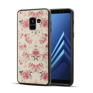Pattern Printing PU Leather Coated PC + TPU Hybrid Case for Samsung Galaxy A8 (2018) - Peony