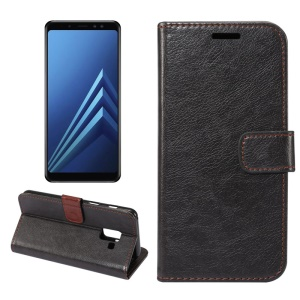 Crazy Horse Texture Leather Wallet Stand Cover for Samsung Galaxy A8+ (2018) - Black