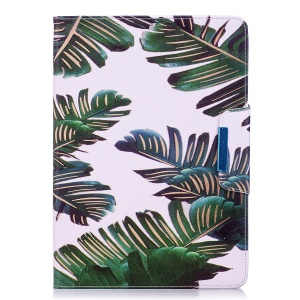 Pattern Printing PU Leather Smart Case Cover for Samsung Galaxy Tab A 9.7 T550 T555 - Green Leaves