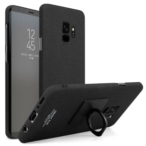 IMAK Cowboy PC Mobile Cover Shell with Ring Stand + Screen Film for Samsung Galaxy S9 - Matte Black