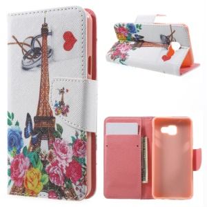 Stand Leather Flip Cover for Samsung Galaxy A3 SM-A310F (2016) - Eiffel Tower & Flowers