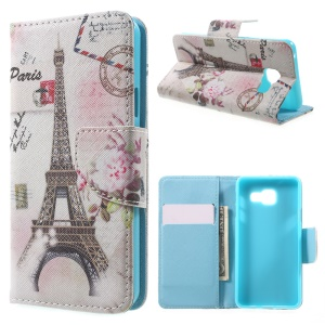 Stand Leather Phone Cover for Samsung Galaxy A3 SM-A310F (2016) - Paris Eiffel Tower