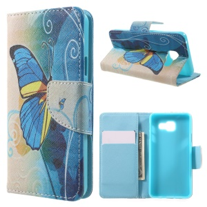 Stand Leather Phone Case for Samsung Galaxy A3 SM-A310F (2016) - Blue Butterfly